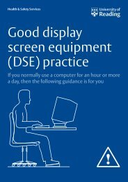Good display screen equipment (DSE) practice - University of Reading
