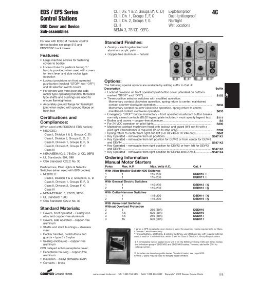 Crouse-Hinds DSD922 2-Circuit Start//Stop Front Operated Push Button Station