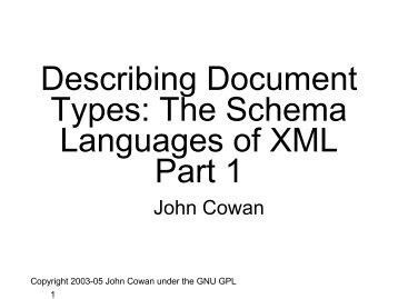 Describing Document Types: The Schema Languages of XML, Part 1