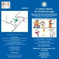 6. Ulmer Abend für Kinderchirurgie - Universitätsklinikum Ulm