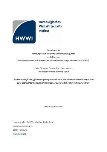 Volkswirtschaftliche Effizienzsteigerung durch mehr ... - HWWI