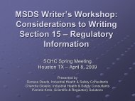 Considerations to Writing Section 15 - SCHC