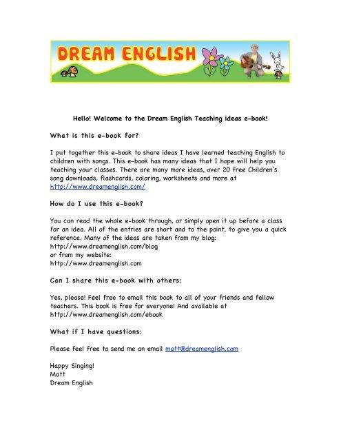 Hello! Welcome to the Dream English Teaching ideas e-book