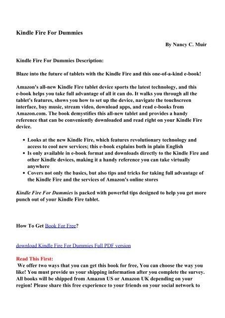 Kindle Fire For Dummies - PDF eBooks Free Download