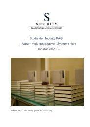 Warum viele quantitativen Systeme nicht funktionieren? - Security KAG