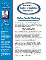 Masters of Marketing E-Book - Startup Internet Marketing