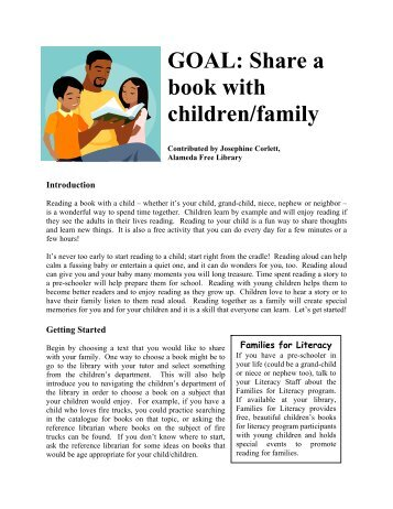 Share a book with children/family - California Library Literacy Services