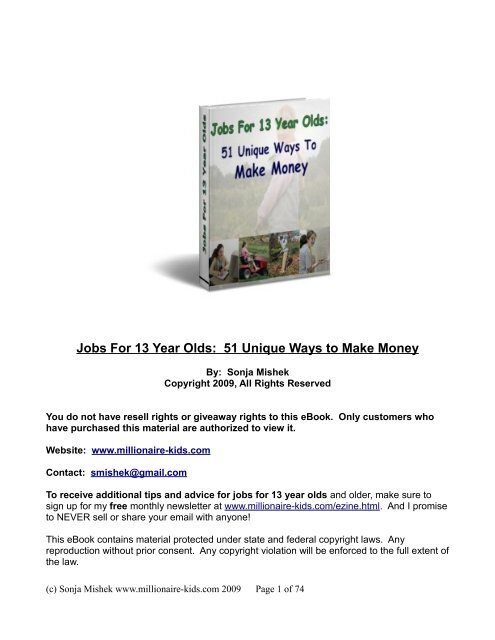 Jobs For 13 Year Olds: 51 Unique Ways to Make     - Millionaire Kids