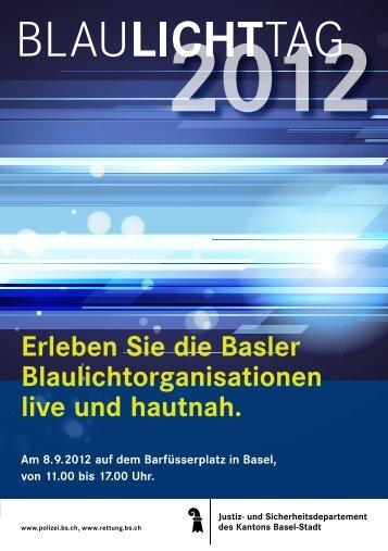 Flyer über den Blaulichttag 2012 - Rettung Basel-Stadt