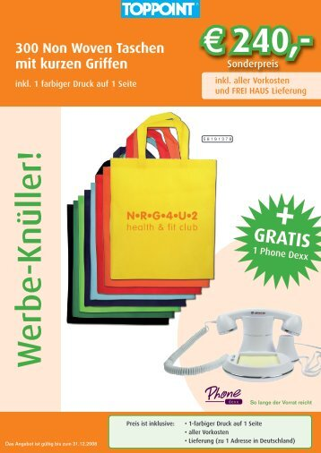 300 Non Woven Taschen mit kurzen Griffen - Epple Werbetechnik