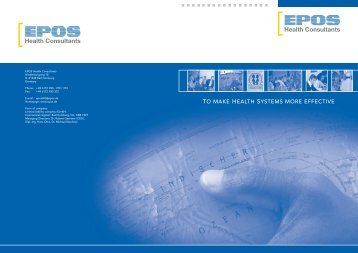 TO MAKE HEALTH SYSTEMS MORE EFFECTIVE - Epos