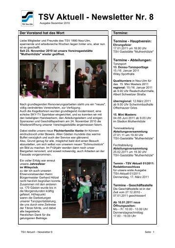 TSV Aktuell - Newsletter Nr. 8 - TSV 1880 Neu-Ulm