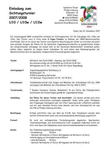 Einladung zum Sichtungsturnier 2007/2008 U10 / U10w / U12w