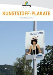 Preisliste Kunststoff-Plakate - Zumsteg Druck AG