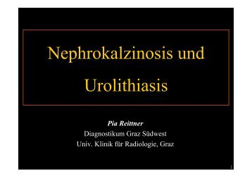 Urolithiasis - State of the art Teil 1 - Diagnostikum Graz