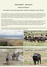 """Hakuna Matata"" - alles bestens Tanzania und Sansibar"