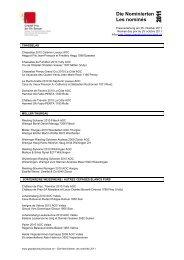 Die Nominierten Les nominés - Grand Prix du Vin Suisse 2012