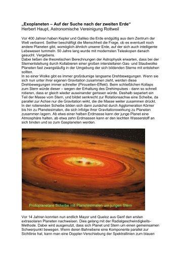 Exoplaneten 15.11.09 - ASTRONOMISCHE VEREINIGUNG ...