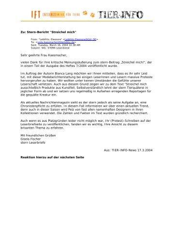 Antwort vom Stern und Reaktion Christina Kremer (pdf - TVG Pulheim