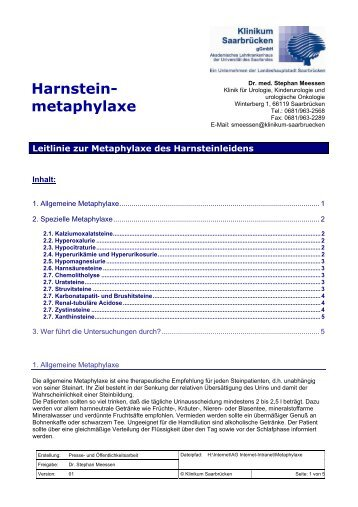 Harnstein- metaphylaxe - Klinikum Saarbrücken