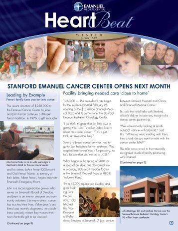 STANFORD EMANUEL CANCER CENTER OPENS NEXT MONTH