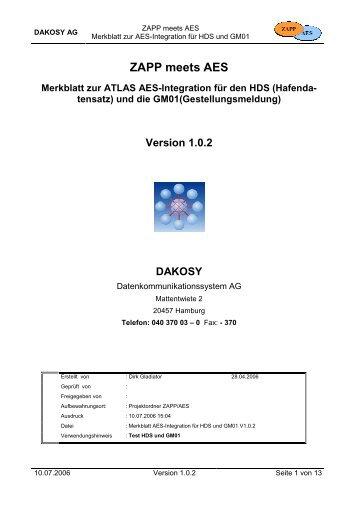 Merkblatt zur ATLAS AES-Integration für den HDS - DAKOSY ...