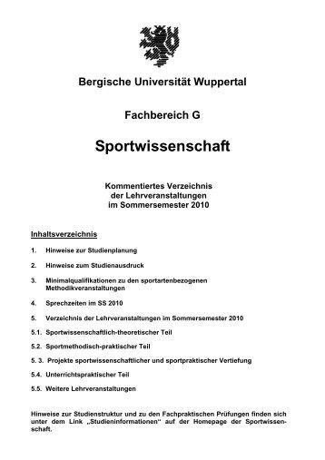 Bergische Universität Wuppertal Fachbereich G Sportwissenschaft ...