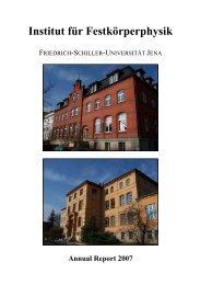Institut für Festkörperphysik - Friedrich-Schiller-Universität Jena