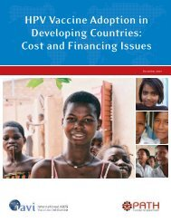 HPV Vaccine Adoption in Developing Countries: Cost and - IAVI