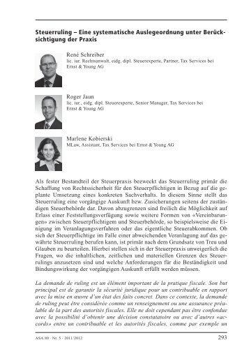 Steuerruling - Home - Ernst & Young - Schweiz