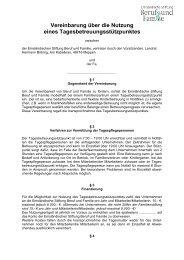 Vereinbarung über die Nutzung eines Tagesbetreuungsstützpunktes