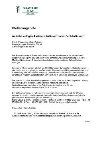 M/W - Bei Der Paracelsus-Kliniken Deutschland Gmbh & Co. Kgaa