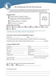 Bewerbungsbogen für einen Missionseinsatz - To All Nations