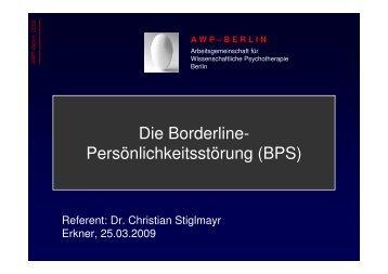 Die Borderline- Persönlichkeitsstörung (BPS)  - Erev