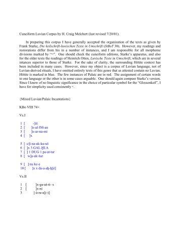 Cuneiform Luvian Corpus by H. Craig Melchert - UCLA Department ...