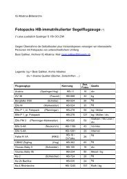 Fotopacks HB-immatrikulierter Segelflugzeuge (*) - IG Albatros