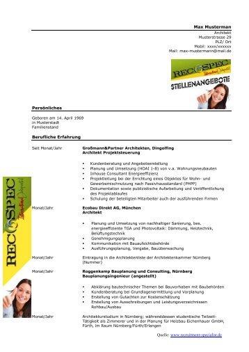 Kostenloser Lebenslauf Architekt - Recruitment Specialist