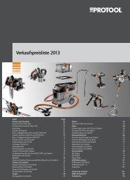 Verkaufspreisliste 2013 - Protool