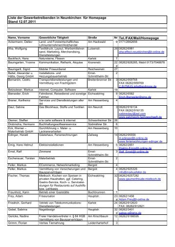 Liste der Gewerbetreibenden in Neunkirchen für Homepage Stand ...
