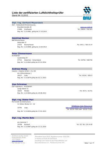 aktuelle Liste (PDF) - Zertifizierung Bau