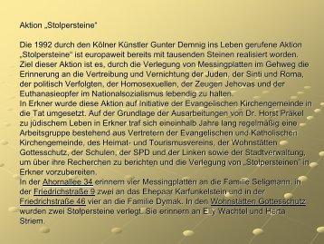"""Aktion """"Stolpersteine"""" Die 1992 durch den Kölner ... - Stadt Erkner"""