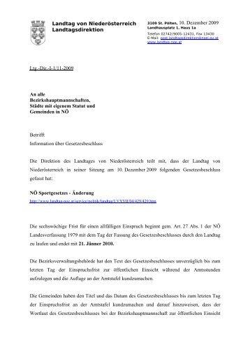 Landtag von Niederösterreich Landtagsdirektion Ltg.-Dir.-I-1/11 ...