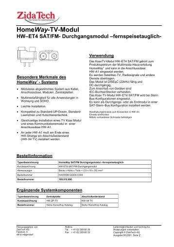 HomeWay- TV-Modul HW–ET4 SAT/FM ... - ZidaTech AG
