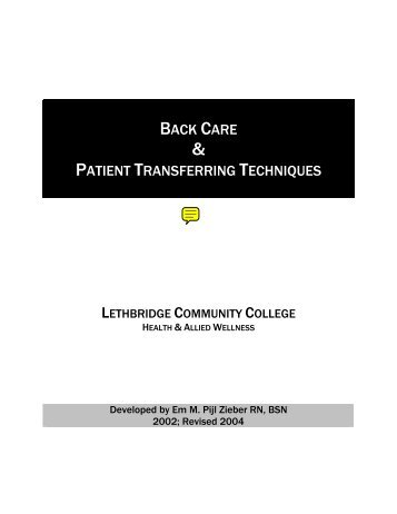 BACK CARE PATIENT TRANSFERRING TECHNIQUES