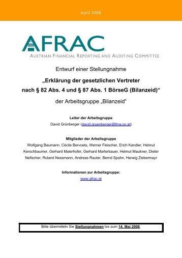 Erklärung der gesetzlichen Vertreter nach § 82 Abs. 4 - AFRAC