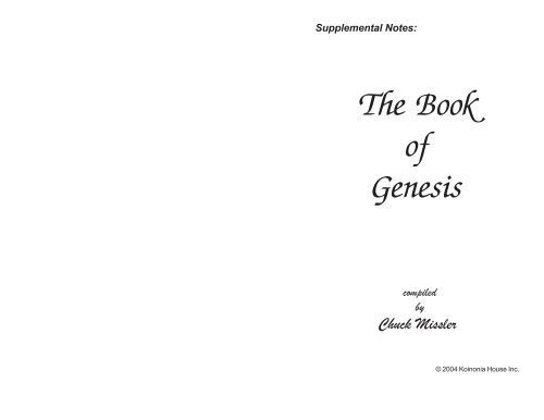 supplemental notes the book of genesis compiled by chuck missler