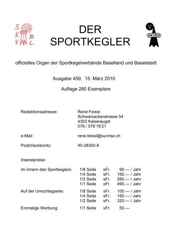 Gruppenmeisterschafts - Rangliste 2010 - skvbl