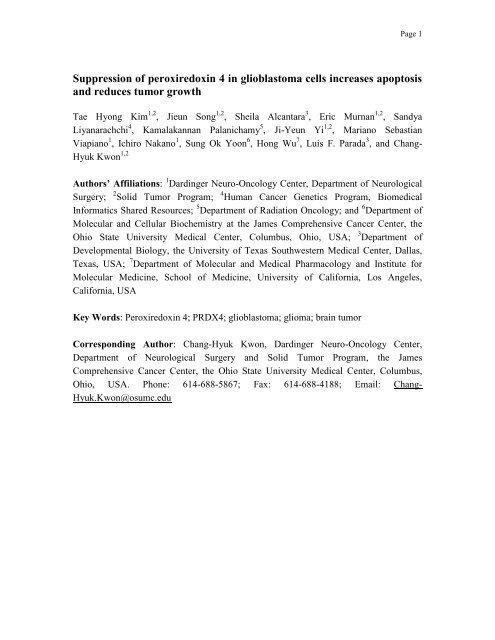 Suppression of peroxiredoxin 4 in glioblastoma cells - UCLA