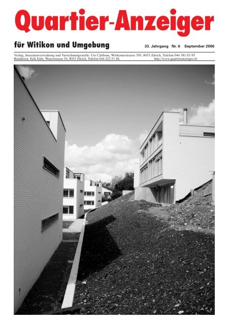 Ausgabe 6, September 2006 - Quartier-Anzeiger Archiv - Quartier ...