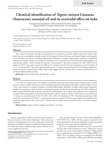 Chemical identification of Tagetes minuta Linnaeus - Colégio ...